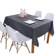 Льняная скатерть для кухонного стола разноцветная однотонная декоративная Водонепроницаемая маслостойкая плотная прямоугольная скатерть для чайного стола