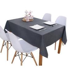 Toalha de mesa de linho mesa de cozinha multi cor sólida decorativa à prova doilágua oilproof grosso retangular mesa de chá pano