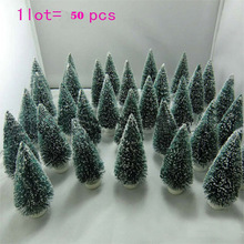 Mini Christmas Tree Decorations,50 pcs Christmas Tree A Small Pine Tree.Placed In The Desktop Mini Christmas Tree ,Free Shipping(China)