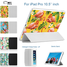 "Print Flamingo Folio Flip for iPad Pro 10.5"" 2017 Case, MTT PU Leather Smart Cover sleep Tablet Cases for Apple iPad 10.5 inch"