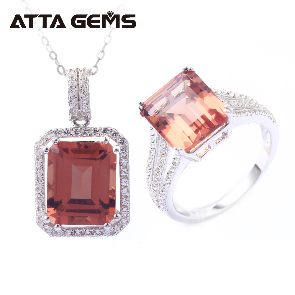 Zultanite Solid Silver Rings Pendants for Women Classic Style Jewelry Set 16 Carats Created Zultanite Silver