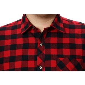 Image 4 - בחור שמן בתוספת גודל 5XL 6XL 7XL 8XL 100% מלא כותנה משובץ עסקי מזדמן חולצת גברים ארוך שרוולים פלנל גבוהה איכות אופנה