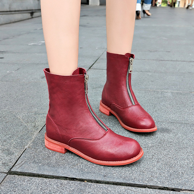 6243216775ad New 2018 British Fashion ins Martin Boots Spring Women red Leather Boots  Casual Square Toe Front Zipper Female Ankle Boots
