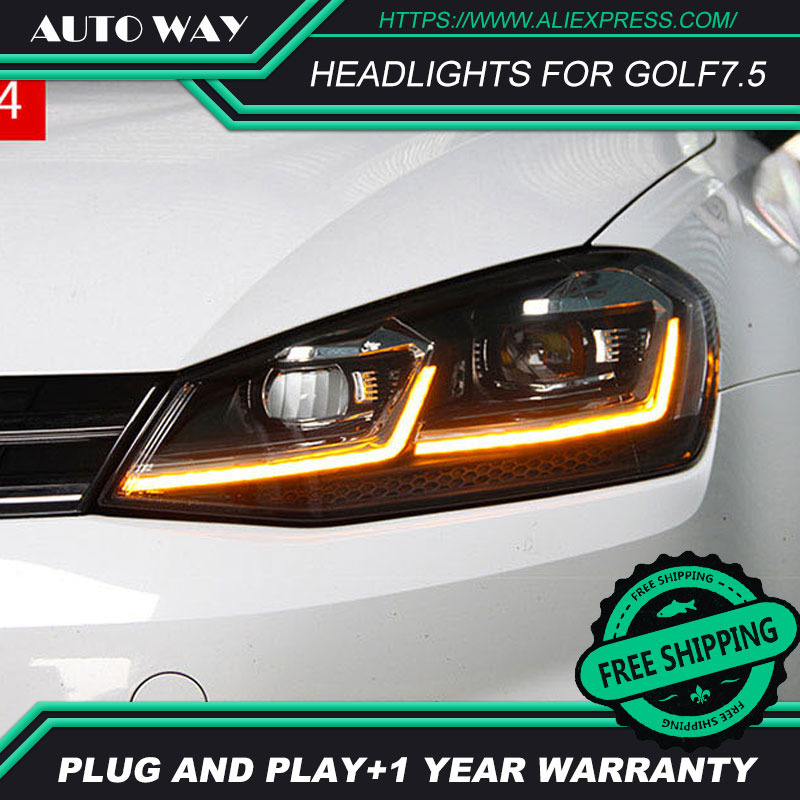 Car Styling Head Lamp case for VW golf7 golf 7 2018 Headlights golf LED Headlight H7 D2H Hid Angel Eye Bi Xenon Beam free shipping for vland car styling head lamp for vw golf 7 headlights led drl led signal h7 d2h xenon beam