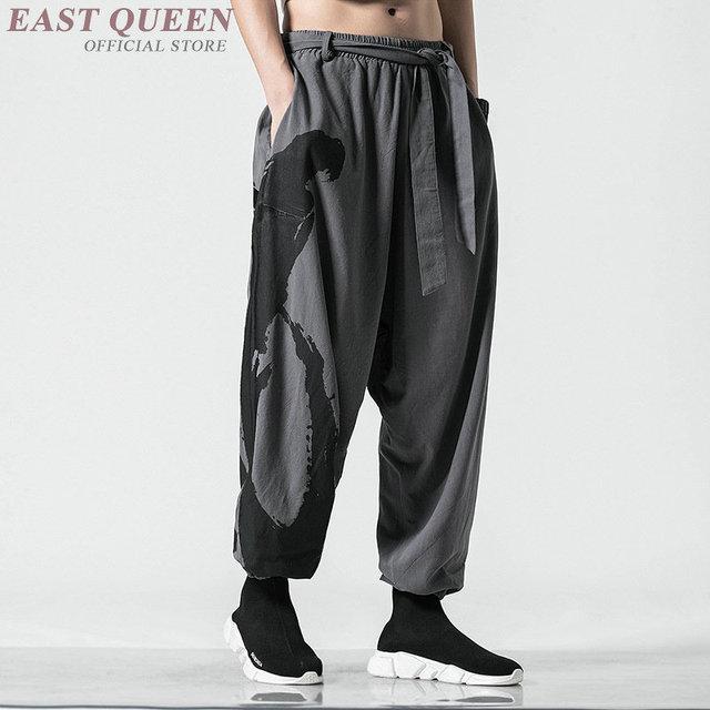Traditional Chinese Pants Streetwear Mens Hemp Clothing Harem Sweatpants Pantalon Kung Fu Japanese Trousers Kimono Pants KK2865 4