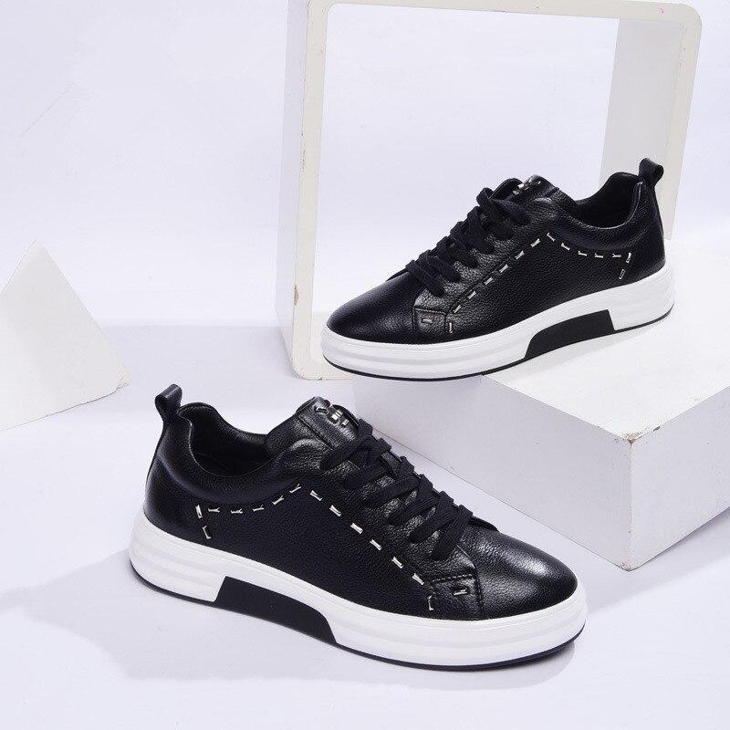 Sólidos Mano A Hecha Cuero Todo Otoño De Hombres Moda negro Grueso Nuevos fósforo Zapatos Beige Casuales Transpirable Zapatillas Para 2017 Hombre Remaches OqUOHT