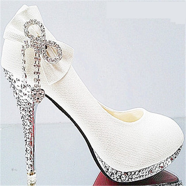 08673100a07485 7cm 10cm Wedding Shoes Butterfly-knot Bridal Shoes Rhinestone Lace Ladies  Shoes High Heels Platform Women Pumps White Size 34-41