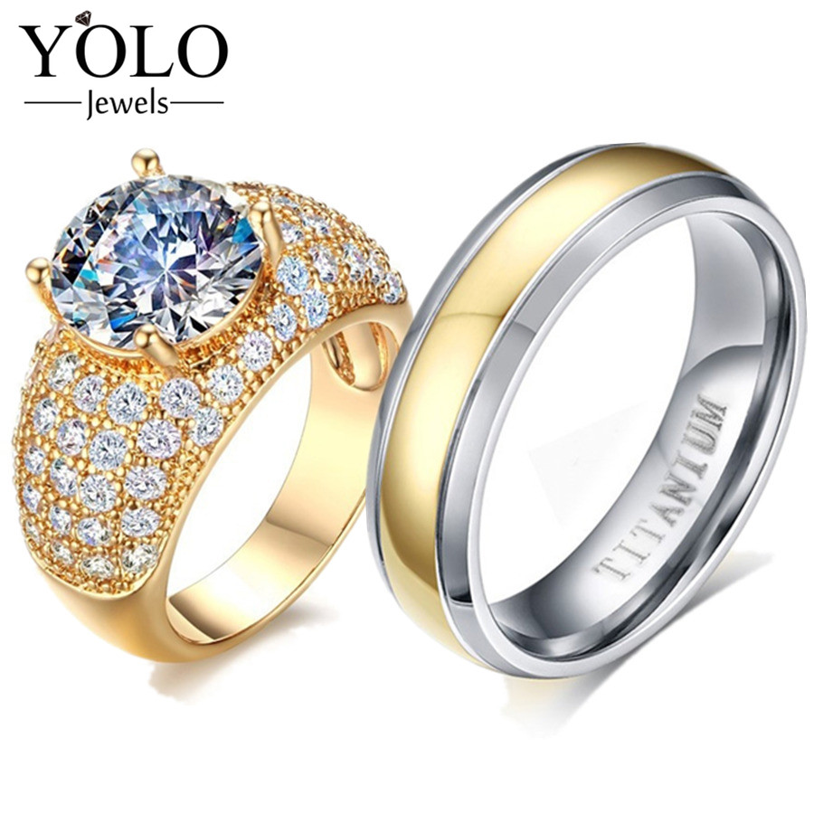 YOLO Jewels Couple Rings Blue Color AAA Cubic Zirconia Ring for Women Titanium Ring for Men Suitable for Wedding and Engagement titanium steel link cubic zirconia studded couple bracelet
