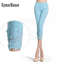 Women Lace Pants Crochet Rhinestone Skinny Stretch Cropped Leggings Trousers Capris Pants Summer Plus Size S