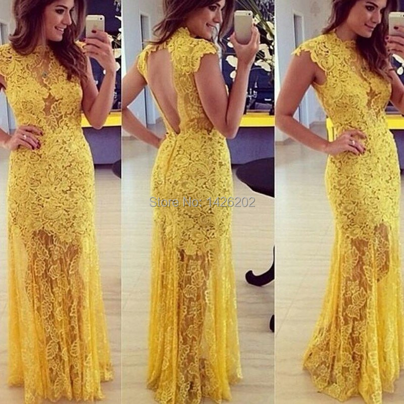Aliexpress Com Buy Simple Elegant See Through Lace Part: High Quality Long Elegant Yellow Lace Prom Dress PA 0257