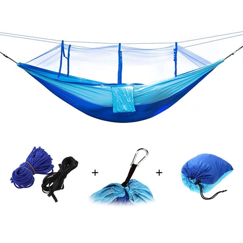 Portable Outdoor Camping Hammock Mosquito Net Nylon Hammock Hanging Bed Sleeping Swing Hang Bed Garden Hammock Drop Shipping