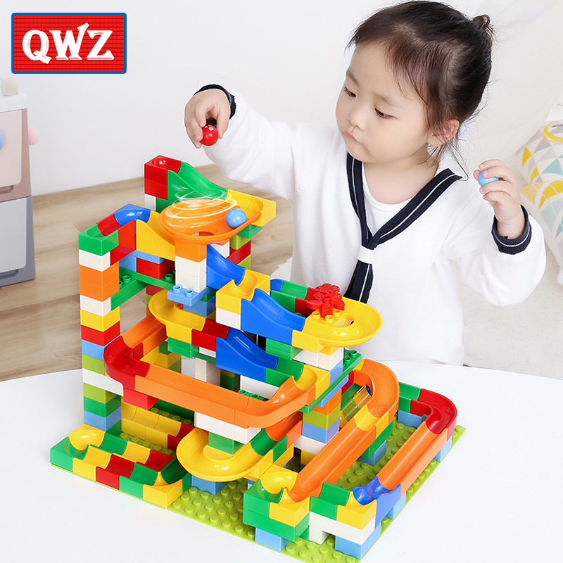 QWZ 54-248PCS Marble Race Run Maze Ball Track Building Blocks Plastic Funnel Slide Big Size Bricks Duplo Blocks Kids Toy Gift candice guo plastic toy children block track ball building blocks 74pcs diy maze marble run construction system race deluxe gift