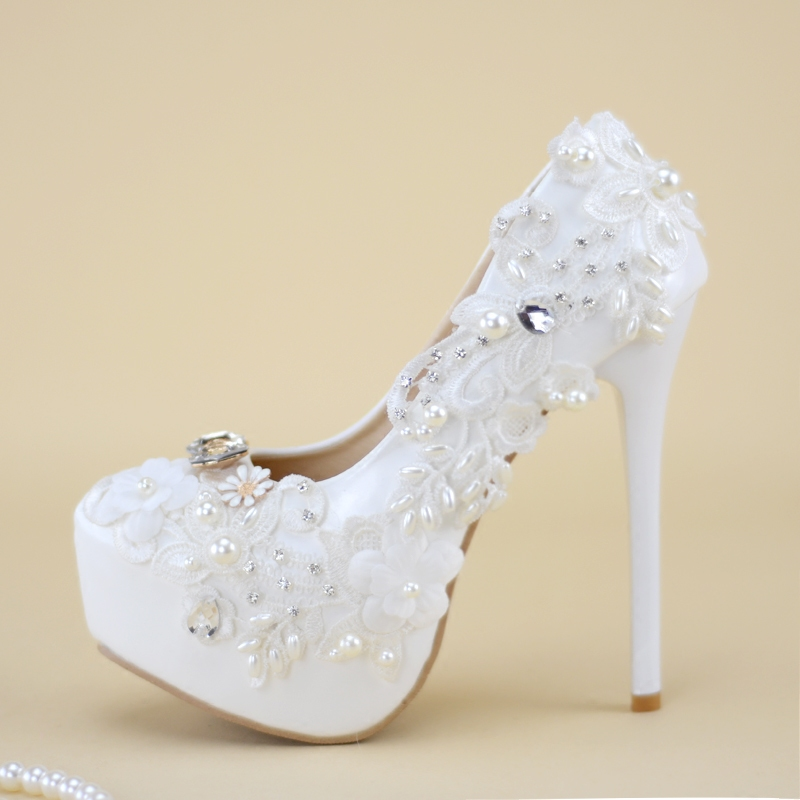 744c31b32c5b0a Wedding White Shoes High Heels Bride Appliques Pearls Stone Lace Flowers  Women Bride Pumps Bridesmaid Thin Heels Whole Sale -in Women s Pumps from  Shoes on ...