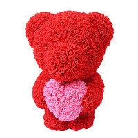 40cm Rose Bear Artificial Flowers Bear Dolls Stand Bear of Rose Decoration Christmas Gifts for girl Valentine's Day gift present