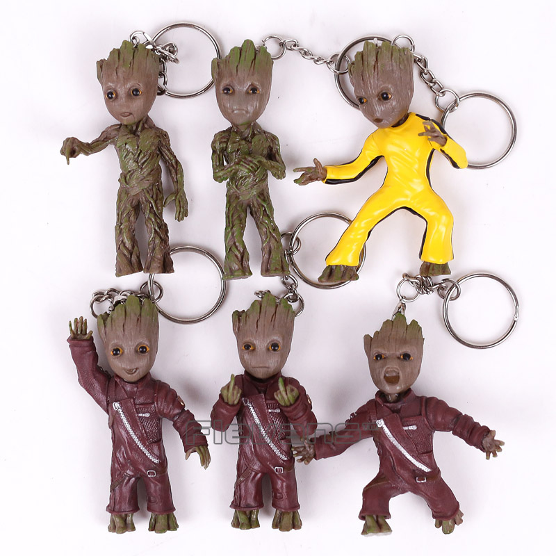 Guardians of the Galaxy 2 Baby Tree Man Pendants PVC Figures with Keychain Collectible Model Toys 6pcs/set 7cm