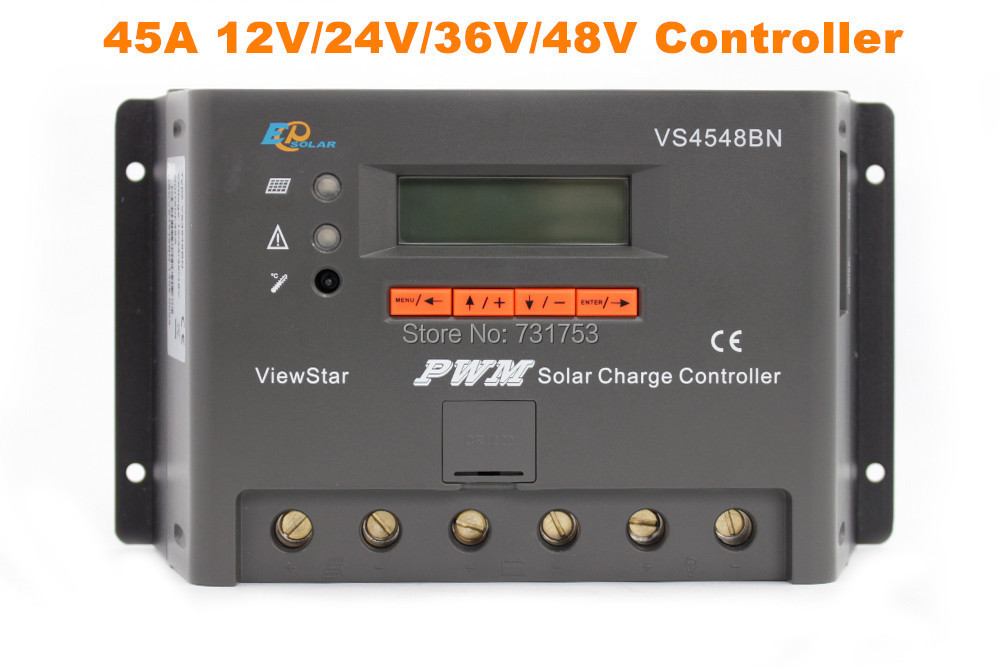 MAYLAR@ 45A 12V 24V 36V 48V Auto PWM Solar Charge Controller LCD Display Connect Solar Panels Battery For Solar System  vs4548bn 45a 24 48v auto pwm controller network access computer control can connect with mt50 for communication