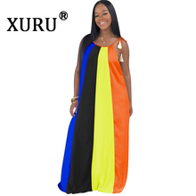 XURU New Loose Contrast Sexy Dress Hot Summer Large Size Women's Dress Bohemian Sling Long Dress