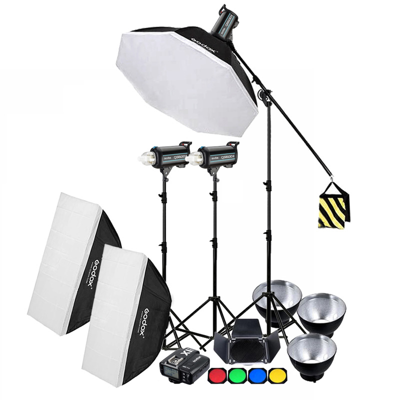 3x Godox QS400II QS600II QS800II QS1200II 2 4G Wireless X1T Transmitter Studio Strobe Flash Light Set