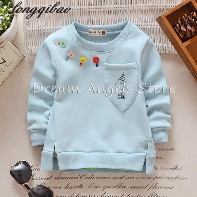 Hot Sale 2017 Baby Sweatshirt Kids Clothes Color buttons pocket Warm Pullover Thick Velvet Baby Boy Girls Clothes Sweatshirt