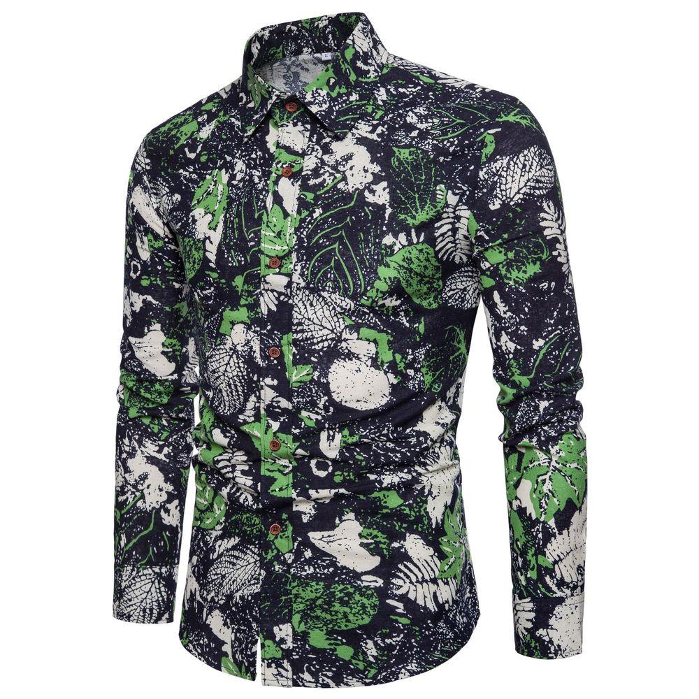 2018 Cotton Spring Autumn New Men's Fashion Flower Printed Long Sleeve Shirts Male Slim Vintage Casual Shirt M- XXXL 4XL 5XL 1