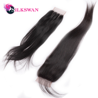 Silkswan Brazilian Straight Swiss Lace Natural Color 10 20Inch 28 Inch Lace Closure Middle/Thrree Part Free Shipping Remy Hair