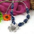 Shitou 00284 joyería de Plata de Tíbet lapis lazuli forma irregular Collar de Flores