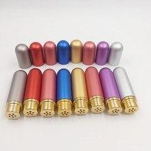 10 stks/partij 5ml Gekleurde Aluminium Neus Inhalator met hoge kwaliteit witte katoenen wieken, aromatherapie metalen inhalator voor essentiële oliën