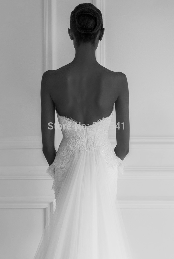 Fashion Design robe de mariee Sweetheart Trumpet Mermaid Wedding Dresses 2019 Applique Lace Beads Peplum Sweep Train Bridal Gown in Wedding Dresses from Weddings Events