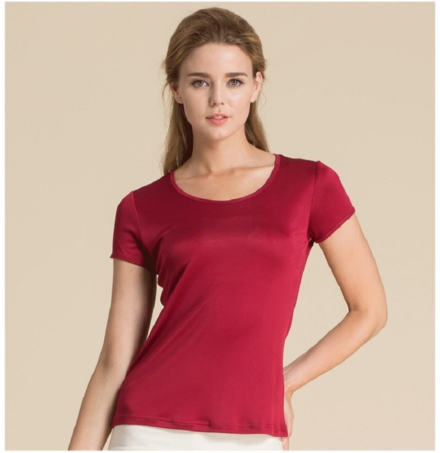 Summer Women 100% Real Silk T-shirt Casual Knitted Shirts Comfortable Breathable Loose T-shirts Women Tops Tees 1191