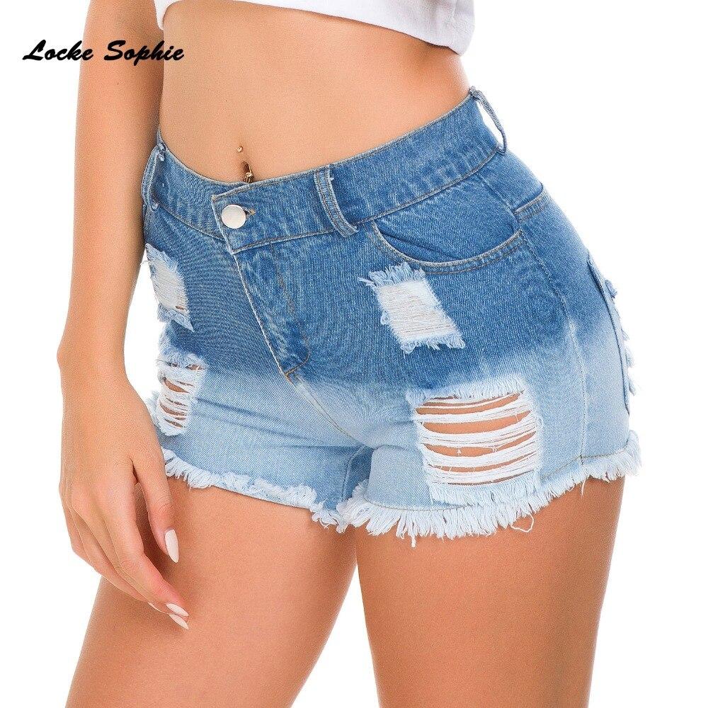 1pcs High Waist Women's Plus Size Hole Jeans Denim Shorts 2019 Summer Denim Cotton Broken Hole Shorts Ladies Skinny Short Jeans
