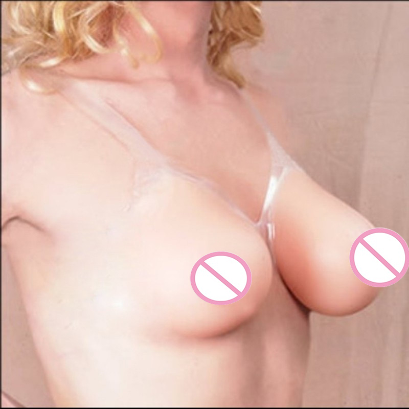 ФОТО D Cup Silicone breast forms with strap for crossdresser 1000g/pair False breast Artificial Breasts
