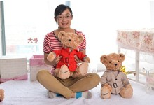 a pair of big size lovely Teddy bear toys khaki and red Dust coat bear toy dolls gift about 40cm