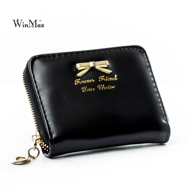 fa38ac93e1 Girls Solid Bowknot Wallet Women Fashion PU Leather Hand Cash Coin Purse  Ladies Short Colorful Cheap Clutch Hand Purse Wallet