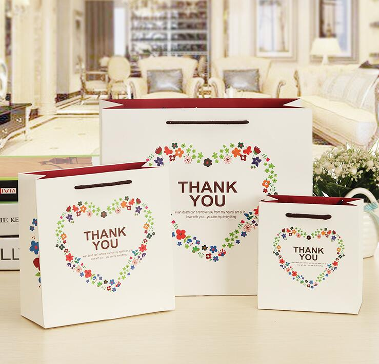 0119 14715cm Wonderful Thank You Wedding Party Gift Bag Shopping Paper Bags With Handles Packaging Box Packing Gi In Storage From Home Garden On