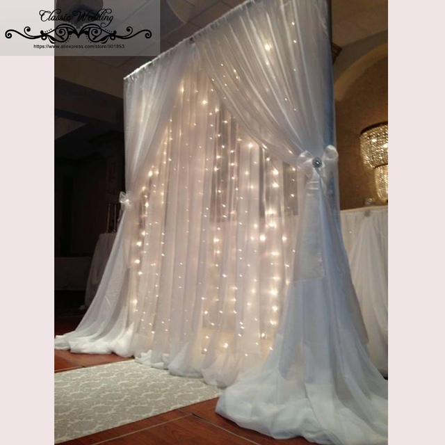 1 Pc Free Shipping 2 Layers Terylene Backdrop Clear Outdoor Wedding For Party Decoration