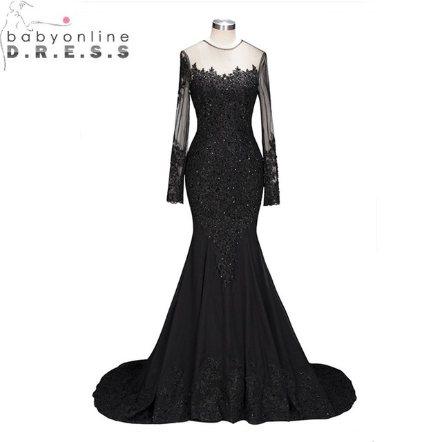 649376760fe Sexy Transparent Back Long Sleeve Lace Mermaid Prom Dresses Long Luxury Beaded  Appliques Black Prom Gown Robe De Soiree Longue