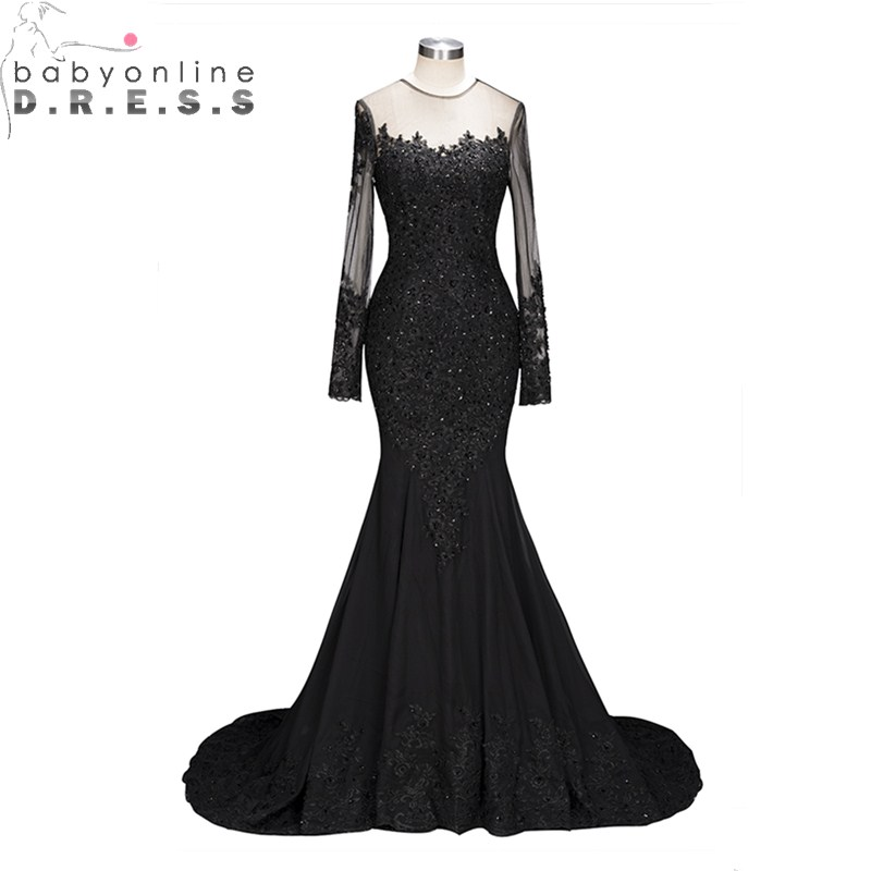 Sexy Transparent Back Long Sleeve Lace Mermaid   Prom     Dresses   Long Luxury Beaded Appliques Black   Prom   Gown Robe De Soiree Longue