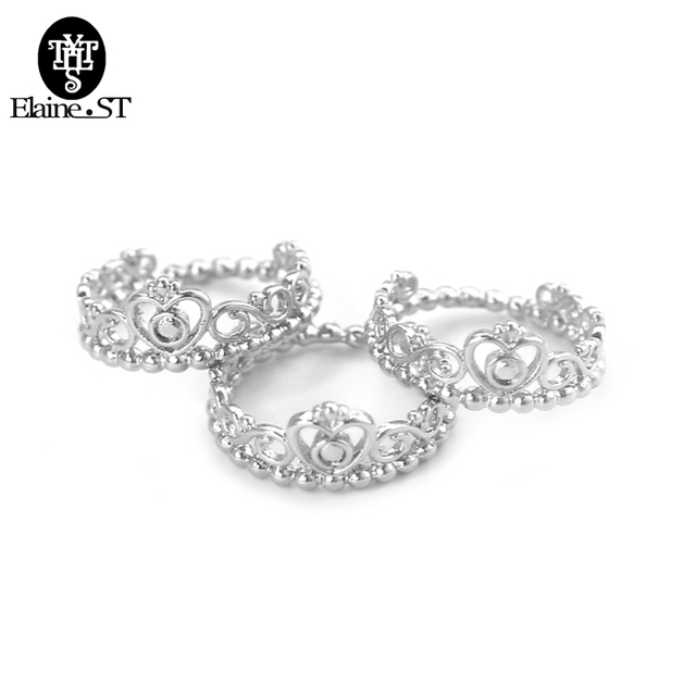 Cbrl Silver Color My Princess Queen Crown Engagement Ring Simple Design Jewelry Gift For