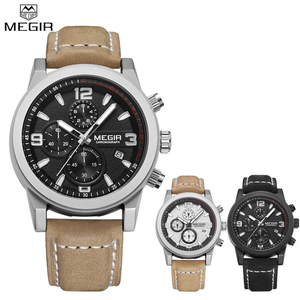 Image 4 - Top Brand Megir Luxury Leather Strap Sports Running Men Watches Casual Aramy Military Chronograp Quartz WrsitWatch Male Clock