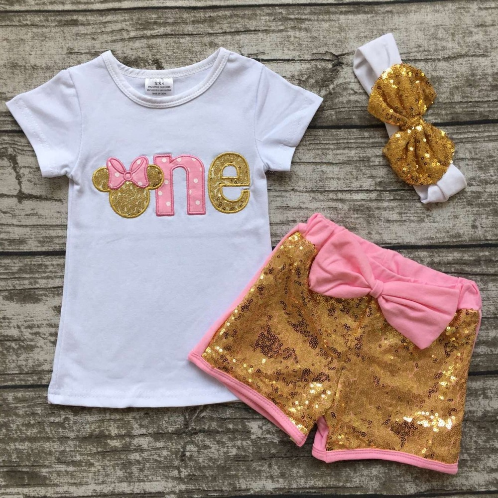 Baby Girls Boutique Clothing Children Outfits One Years Old Birthday Clothes Girls Minnie -6321
