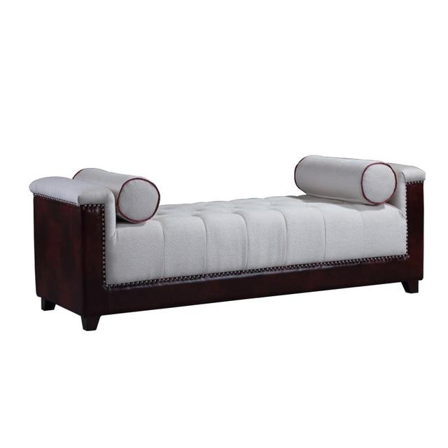 Francés de madera tapizado cama final taburetes, botón tufted beige ...