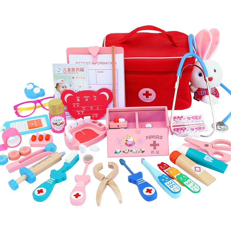 Toys for Children Girl Boy Kids Pretend Play Wood Doctor Toys Red Medical Kit Dentist Medicine Box Sets Cloth Bag Packing Games image