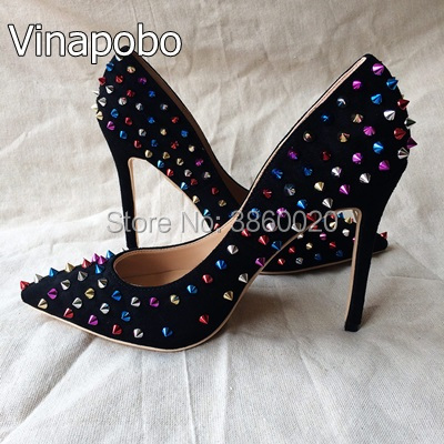 Black Leather Tenis Bridal Shoes For Wedding Dress Spiked High Heels Shoes  Woman Pumps Mixed Color Rivets Zapatos Mujer Size 43 399cb5129b2f