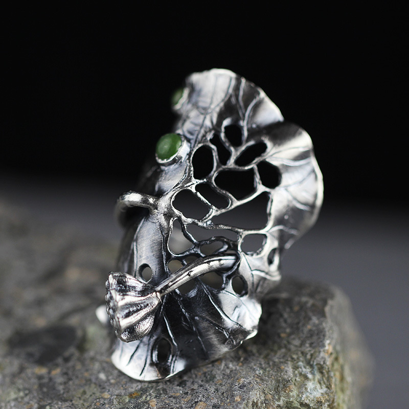 все цены на The character of the original design of 99 fine silver silver handmade lotus and MS. Tian Biyu exaggerated Ladies Ring онлайн