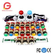 Zwei Spieler Arcade DIY Kits Teile USB Encoder zu PC Joystick + 5Pin Aufkleber + Vergoldete 1 & 2 Spieler Münze LED Lampe leuchtet Push Button