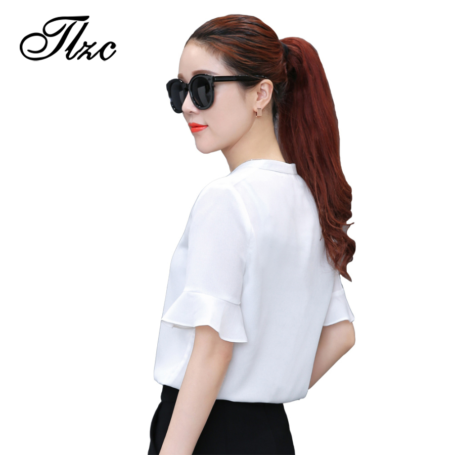 TLZC 2017 Fashion Women Blouses Summer Chiffon Tops Size S-XL V-neck Ruffle Sleeve Office Lady White Shirts Gray