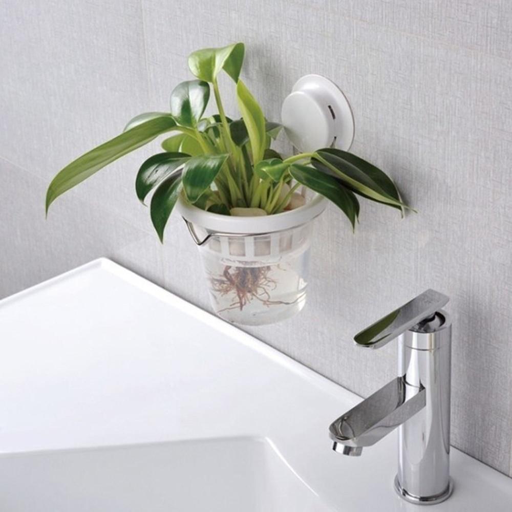 Superior Suction Cup Glue Decorative Flower Pot Hydroponics Plastic Pots For Plants  Maceteros Wall Mounted Bathroom Kitchen Office Plant In Flower Pots U0026  Planters ...