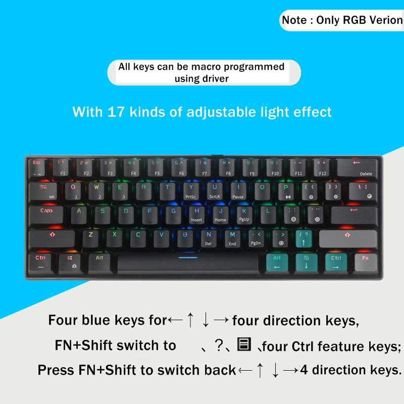 Royal Kludge RK61 Mini Portable 61 Key Dual-Mode Bluetooth Wireless/USB  Wired Backlit Mechanical Keyboard RK Axis/Cherry Axis