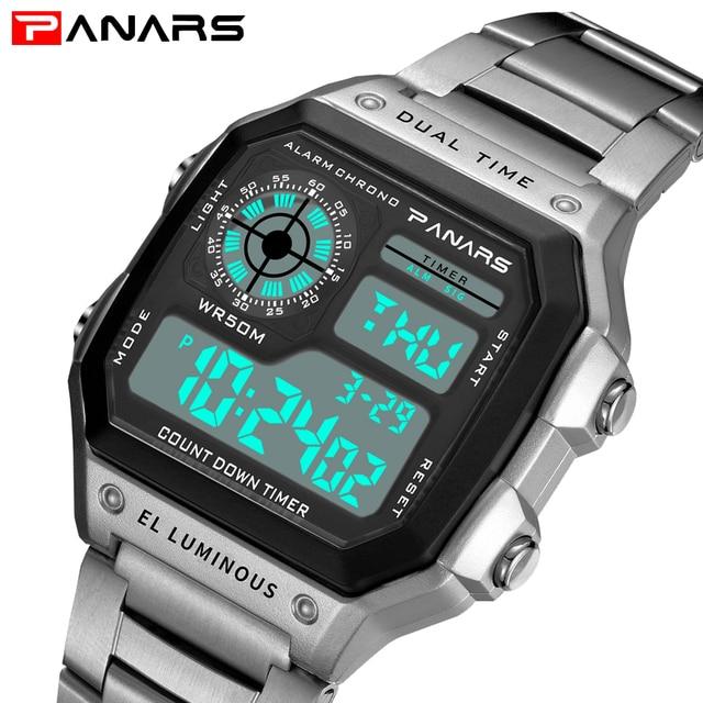 f5515580621 Esportes Homens Relógios 50 PANARS m À Prova D  Água de Prata do Relógio Em