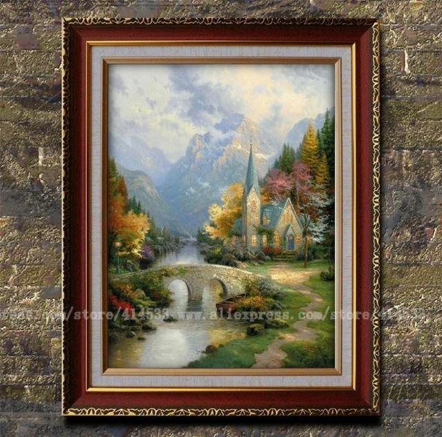 Prints of thomas kinkade oil painting the mountain chapel landscape painting modern wall for Home interiors thomas kinkade prints